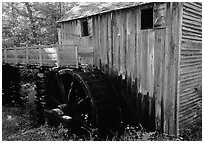 Water-powered gristmill, Cades Cove, Tennessee. Great Smoky Mountains National Park ( black and white)