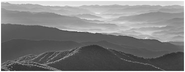 Hazy Appalachian mountaintop ridges. Great Smoky Mountains National Park (Panoramic black and white)