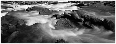 Boulders in river. Great Smoky Mountains National Park (Panoramic black and white)