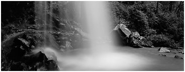 Base of waterfall and pool. Great Smoky Mountains National Park (Panoramic black and white)