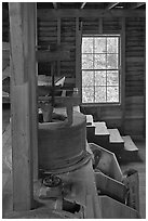 Main room of Mingus Mill, North Carolina. Great Smoky Mountains National Park ( black and white)