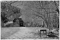 Davis House, Mountain Farm Museum, North Carolina. Great Smoky Mountains National Park ( black and white)