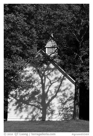 Palmer Chapel with tree shadow, Big Cataloochee, North Carolina. Great Smoky Mountains National Park (black and white)