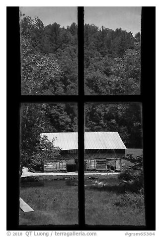 Caldwell Barn from Caldwell House window, Cataloochee, North Carolina. Great Smoky Mountains National Park (black and white)