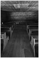 Classroom desks, Little Greenbrier School, Tennessee. Great Smoky Mountains National Park ( black and white)