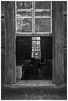 Classroom through window, Little Greenbrier School, Tennessee. Great Smoky Mountains National Park ( black and white)