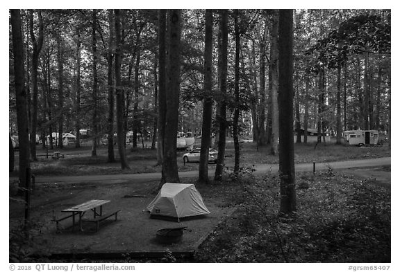 Elkmont Campground, Tennessee. Great Smoky Mountains National Park (black and white)
