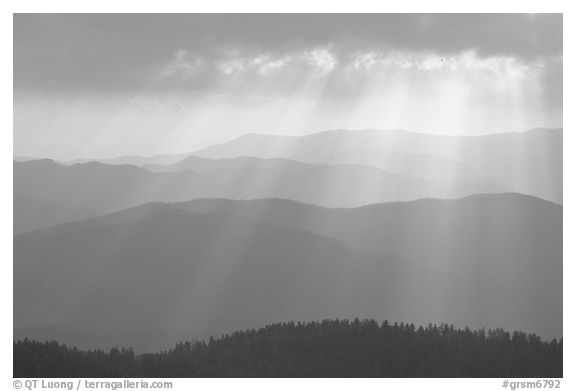 God's rays and ridges from Clingmans Dome, early morning, North Carolina. Great Smoky Mountains National Park (black and white)
