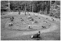 Pioneer Cemetery in forest clearing, Greenbrier, Tennessee. Great Smoky Mountains National Park, USA. (black and white)