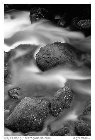 Mossy boulders and silky water, Roaring Fork River, Tennessee. Great Smoky Mountains National Park (black and white)