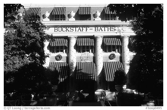 Buckstaff Bathhouse. Hot Springs National Park (black and white)