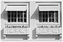 Windows and shades, Ozark Baths. Hot Springs National Park ( black and white)