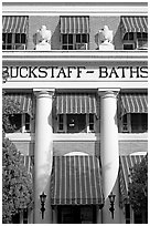 Blue shades, Buckstaff Baths. Hot Springs National Park ( black and white)