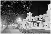 Ozark Baths and Bathhouse Row at night. Hot Springs National Park ( black and white)