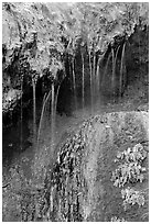 Hot springs water flowing over tufa terrace. Hot Springs National Park ( black and white)