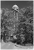 Hot Springs Mountain Tower in the fall. Hot Springs National Park ( black and white)