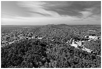 View over Hot Springs Mountain and West Mountain in the fall. Hot Springs National Park ( black and white)