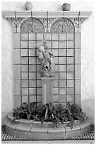 Cherub fountain in entrance hall, Fordyce Baths. Hot Springs National Park ( black and white)