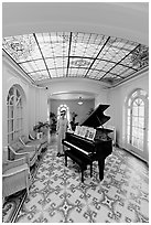 Music room with ceiling of art glass. Hot Springs National Park ( black and white)