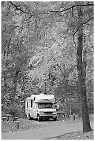 RV in campground with fall colors. Hot Springs National Park ( black and white)