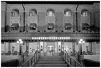 Fordyce Bathhouse facade at night. Hot Springs National Park ( black and white)
