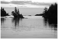 Dusk on Chippewa harbor. Isle Royale National Park, Michigan, USA. (black and white)