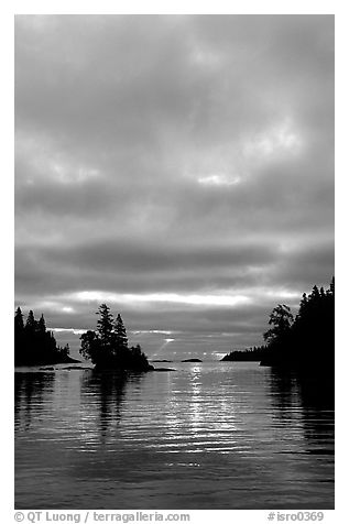 Early morning on Chippewa harbor. Isle Royale National Park (black and white)