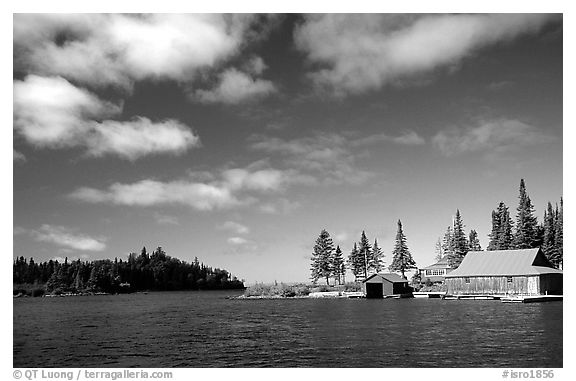 Private fishermen's residences. Isle Royale National Park (black and white)
