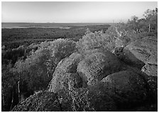 Mount Franklin granite outcrop and distant Lake Superior at sunset. Isle Royale National Park ( black and white)