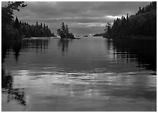 Islet in Chippewa Harbor at sunrise. Isle Royale National Park, Michigan, USA. (black and white)
