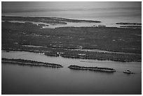 Aerial View of Rock Harbor. Isle Royale National Park ( black and white)
