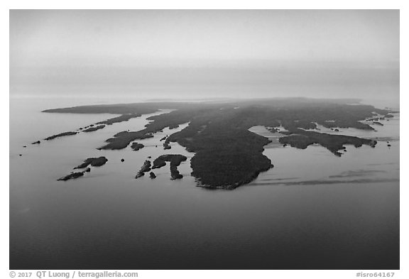 Aerial View of Isle Royale with aligned ridges. Isle Royale National Park (black and white)