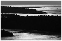 Ridges and water glitter from Louise Lookout. Isle Royale National Park ( black and white)
