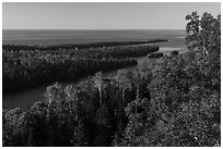 Locke Point from Louise Lookout, afternoon. Isle Royale National Park ( black and white)