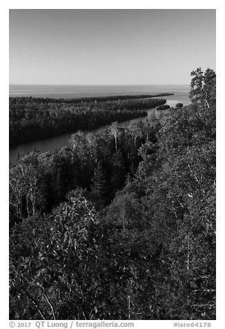 Tip of Isle Royale from Louise Lookout. Isle Royale National Park (black and white)