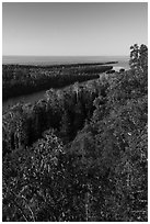 Tip of Isle Royale from Louise Lookout. Isle Royale National Park ( black and white)