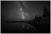 Milky Way, Smithwitck Island, Rock Harbor shores. Isle Royale National Park ( black and white)