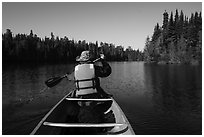 Canoist paddling seen from back, Tobin Harbor. Isle Royale National Park ( black and white)