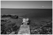 Abandoned dock and clear Lake Superior waters, Passage Island. Isle Royale National Park ( black and white)