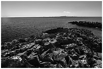 Lichen-covered rocks, Lake Superior, and Isle Royale from Passage Island. Isle Royale National Park ( black and white)