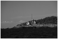 Passage Island and Lighthouse. Isle Royale National Park ( black and white)