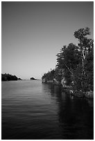 Trees and reflections, Tookers Island. Isle Royale National Park ( black and white)