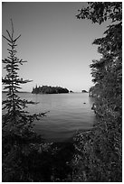 Shaw Island framed by trees of Tookers Island. Isle Royale National Park ( black and white)