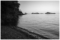 Beach and outer islands, late afternoon, Tookers Island. Isle Royale National Park ( black and white)