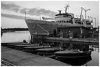 Rock Harbor marina with Ranger 3 ferry at dawn. Isle Royale National Park ( black and white)