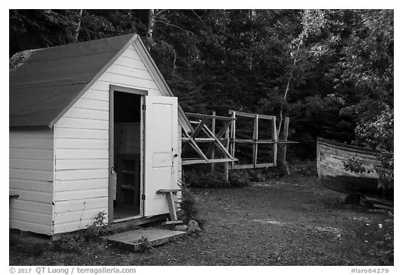 Honeymoon cabin and net reels, Edisen Fishery. Isle Royale National Park (black and white)