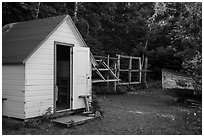 Honeymoon cabin and net reels, Edisen Fishery. Isle Royale National Park ( black and white)