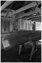 Canoe being built, Bangsund Cabin site. Isle Royale National Park ( black and white)