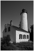 Rock Harbor Lighthouse, afternoon. Isle Royale National Park ( black and white)