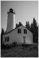 Close view of Rock Harbor Lighthouse. Isle Royale National Park ( black and white)